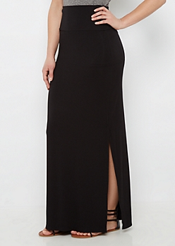 Black Jersey Fold-Over Maxi Skirt