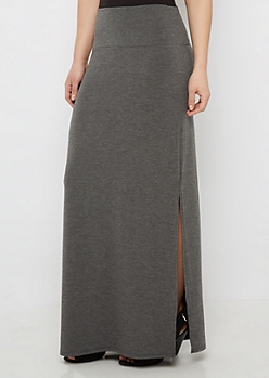 Heather Gray Side Slit Maxi Skirt