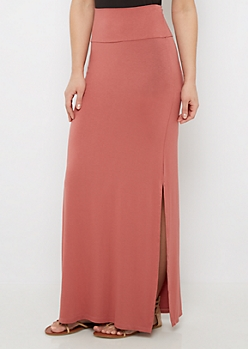 Pink Side Slit Maxi Skirt