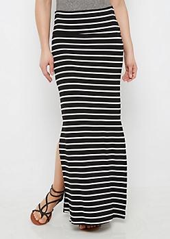 Black Striped Side Slit Maxi Skirt