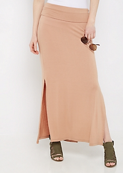 Taupe Side Slit Maxi Skirt