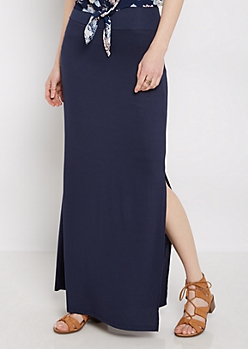 Navy Side Slit Maxi Skirt