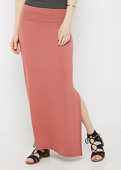 Dusty Pink Side Slit Maxi Skirt