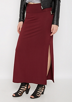 Burgundy Side Slit Maxi Skirt
