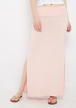 Light Pink Side Slit Maxi Skirt
