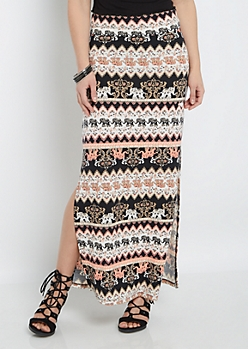 Folklore Elephant Side Slit Maxi Skirt
