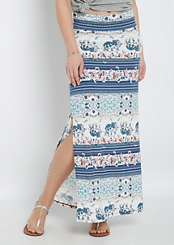Mythical Elephant Side Slit Maxi Skirt