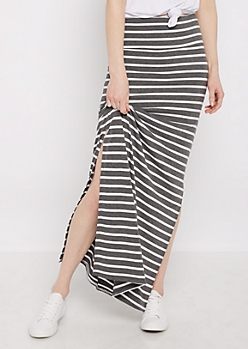 Heather Gray Striped Side Slit Maxi Skirt