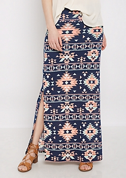 Pastel Aztec Side Slit Maxi Skirt
