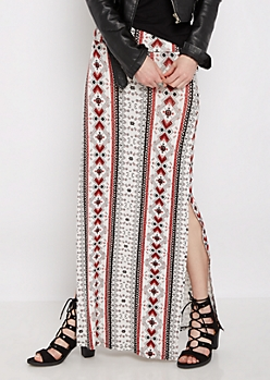 Red Tribal Side Slit Maxi Skirt