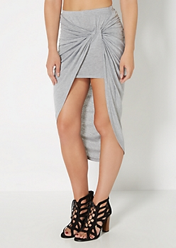 Gray Knotted Front Midi Skirt