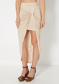 Taupe Knotted Front Midi Skirt