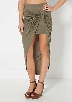 Olive Knotted Front Midi Skirt