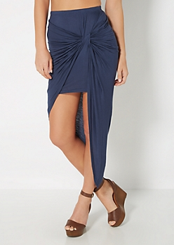 Navy Knotted Front Midi Skirt