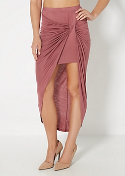 Mauve Knotted Front Midi Skirt