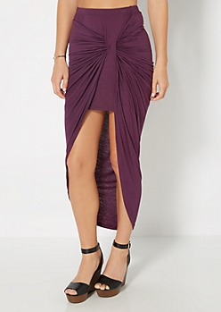 Dark Purple Knotted Front Midi Skirt