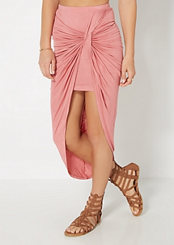 Dark Pink Knotted Front Midi Skirt