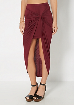 Burgundy Knotted Front Midi Skirt