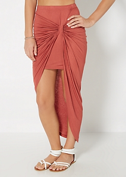 Burnt Orange Knotted Front Midi Skirt