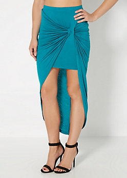 Teal Knotted Front Midi Skirt