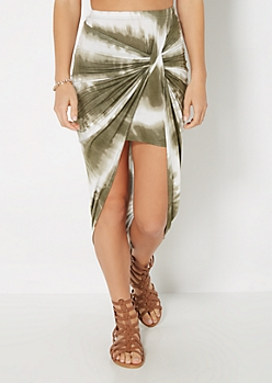 Olive Tie Dye Knotted Skirt