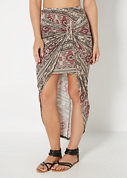 Taupe Folklore Knotted Skirt