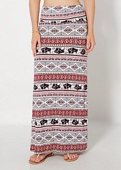 Elephant Folklore Maxi Skirt