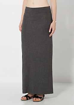 Charcoal Grey Favorite Knit Maxi Skirt