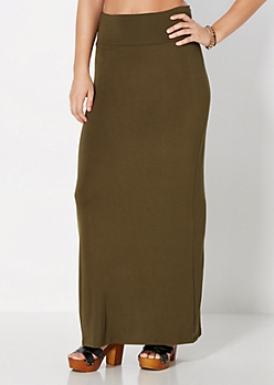 Dark Olive Favorite Knit Maxi Skirt