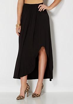 Black Cascading Maxi Skirt