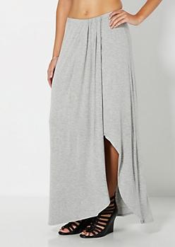 Heather Gray Cascading Maxi Skirt