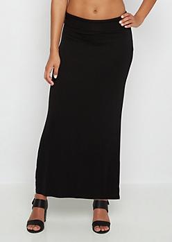 Black Essential Fold-Over Maxi Skirt