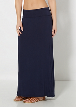 Navy Essential Fold-Over Maxi Skirt
