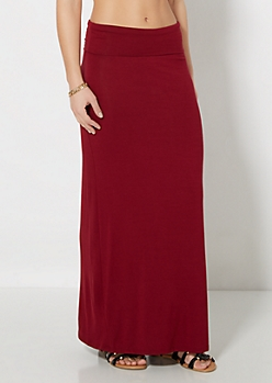 Burgundy Essential Fold-Over Maxi Skirt