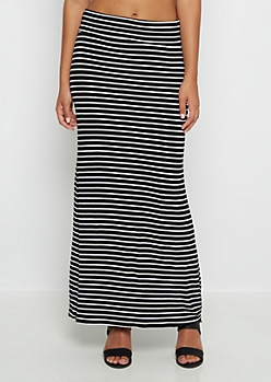 Striped Essential Fold-Over Maxi Skirt
