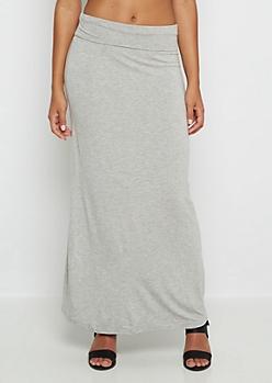 Heather Gray Jersey Maxi Skirt