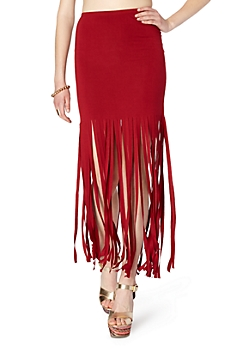Burgundy Fringed Knit Maxi Skirt