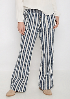Geo Striped Smocked Linen Pant