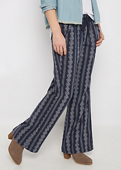 Medallion Smocked Linen Pant