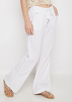 White Smocked Linen Pant