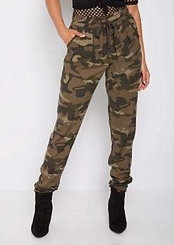 Camo Ruched Challis Pant