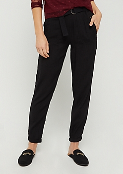 Black Belt Loop Tapered Pant