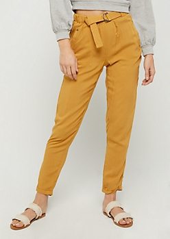Mustard Belt Loop Tapered Pant