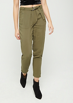 Olive Belt Loop Tapered Pant