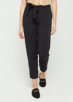 Black Belted Soft Twill Pant