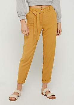 Mustard Belted Soft Twill Pant