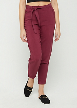Burgundy Belted Soft Twill Pant