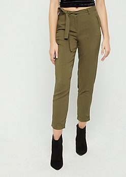 Olive Belted Soft Twill Pant
