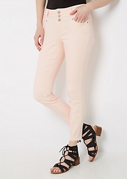 Pink 3-Shank High Waist Jegging