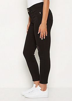 Black Distressed Better Butt High Rise Jegging
